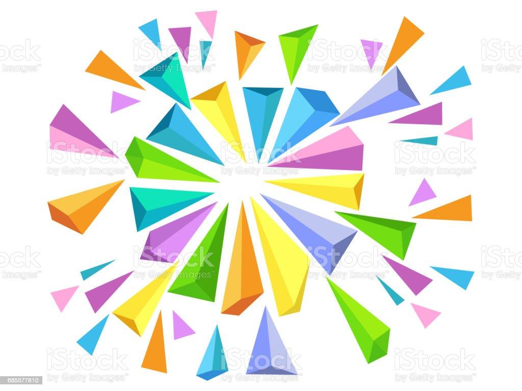 삼각형 버스트 효과와 다채로운 추상적인 기하학적 배경입니다. royalty-free 삼각형 버스트 효과와 다채로운 추상적인 기하학적 배경입니다 구도에 대한 스톡 벡터 아트 및 기타 이미지