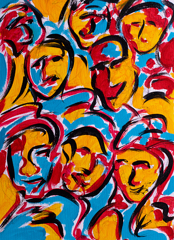 Colorful abstract painting showing facial expressions