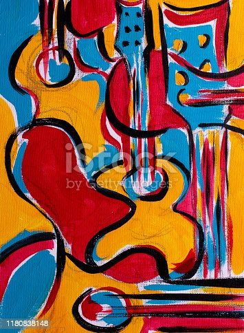 istock Colorful abstract painting showing guitars and musical instruments 1180838148