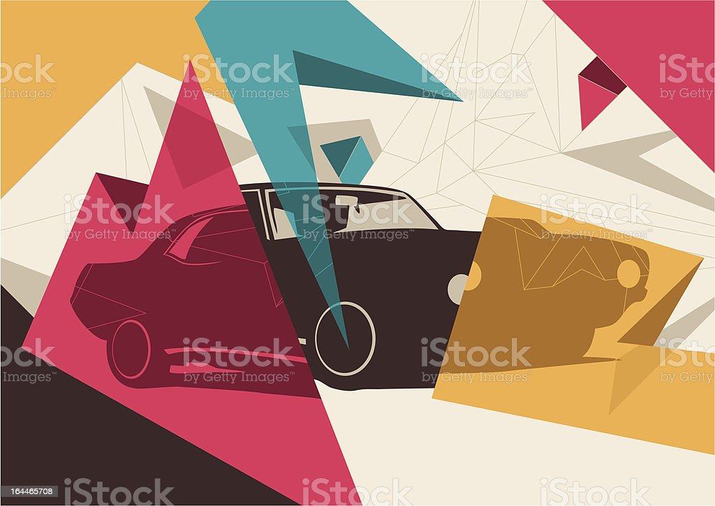 Colorful abstraction with car silhouette. royalty-free stock vector art