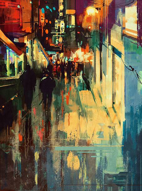 bildbanksillustrationer, clip art samt tecknat material och ikoner med colorful alley at night, abstract illustration - gränd