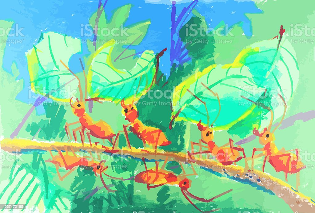 colorful ants working together painting background vector art illustration