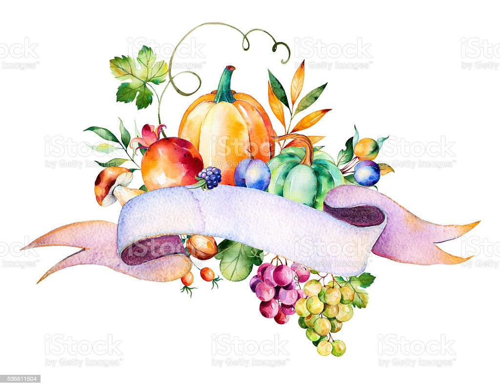Colorful autumn bouquet with fall leaves,branches,berry,blackberry,mushroom vector art illustration