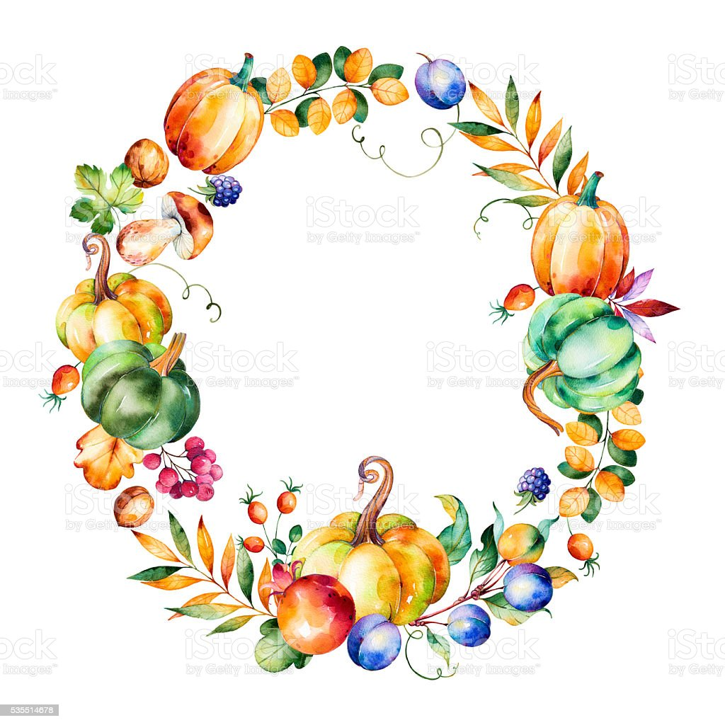 Colorful Autumn Wreath With Fall ...