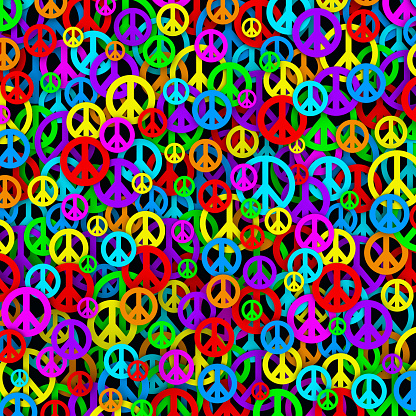 Colorful Background Made of Peace and Love Symbols