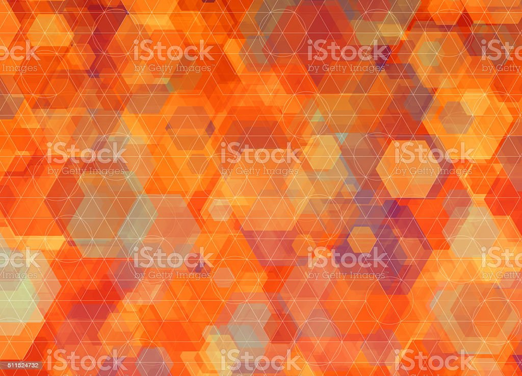 Colorful background, with hexagon pattern and orange geometric shapes vector art illustration