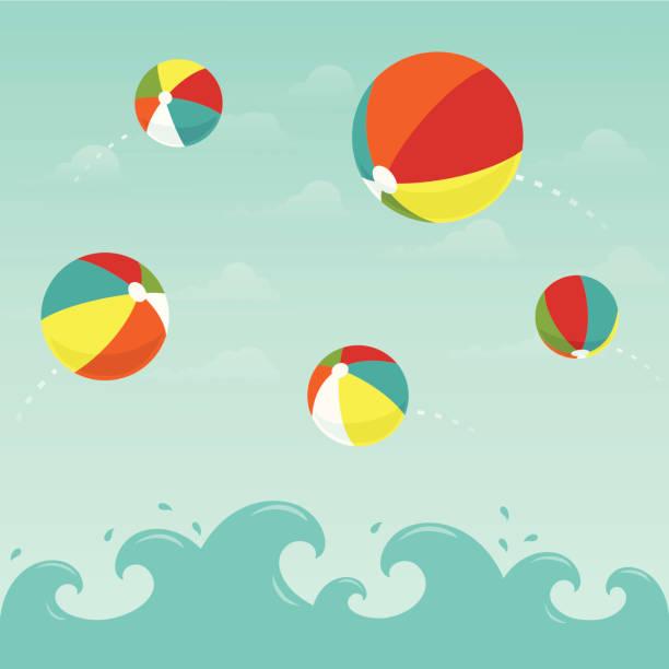ilustrações de stock, clip art, desenhos animados e ícones de praia colorida bolas na água - brinquedos na piscina