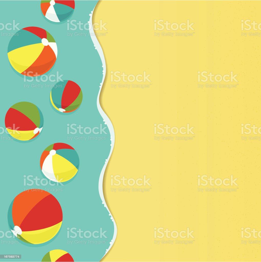 Colorful beachballs on a beach royalty-free stock vector art