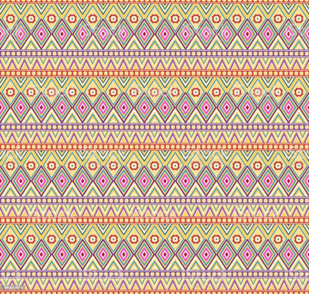 Colorful bohemian seamless pattern vector art illustration