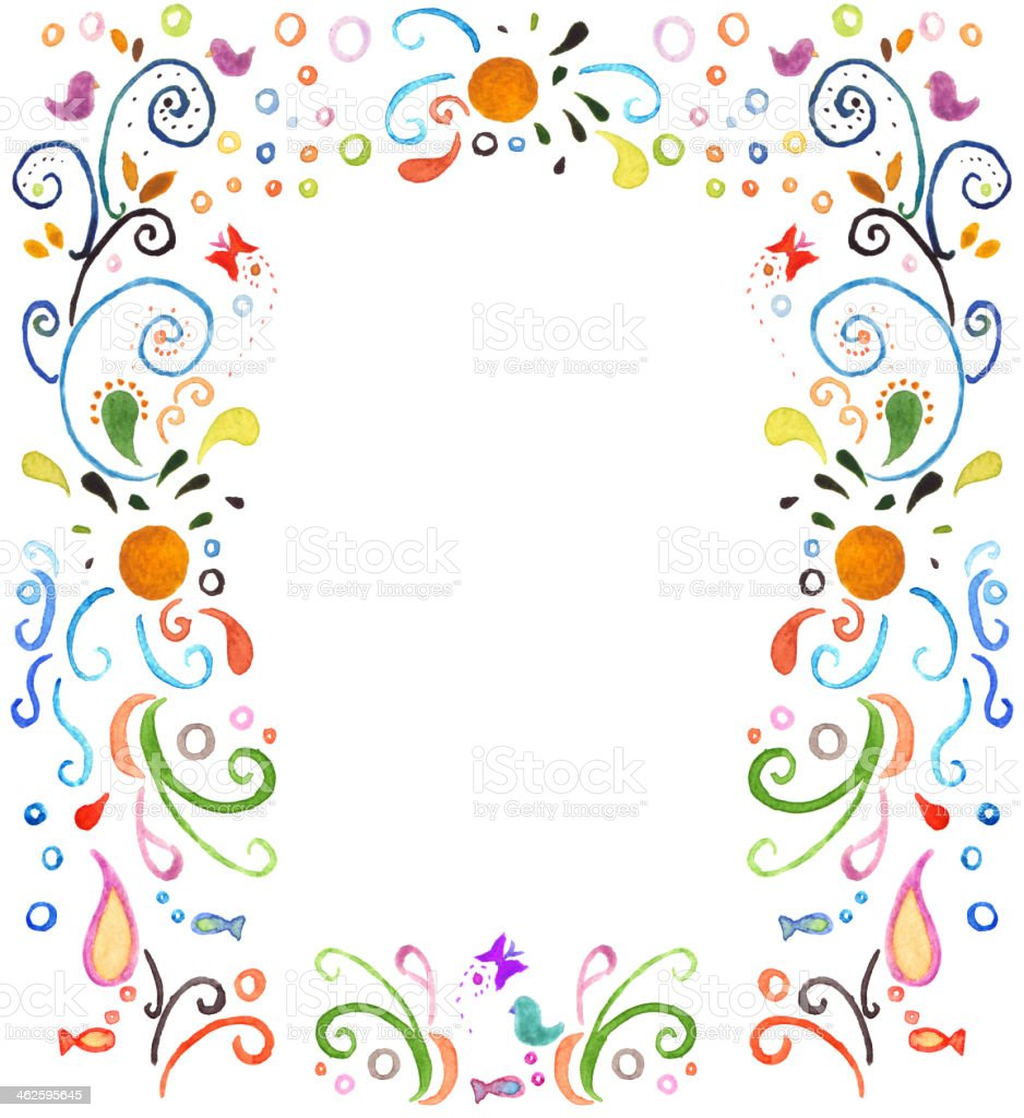 Colorful Border Watercolor Painting royalty-free stock vector art