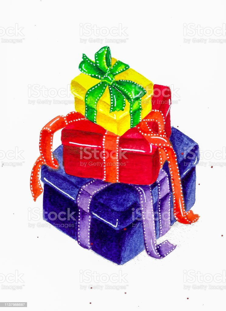 Colorful boxes with gifts watercolor illustration
