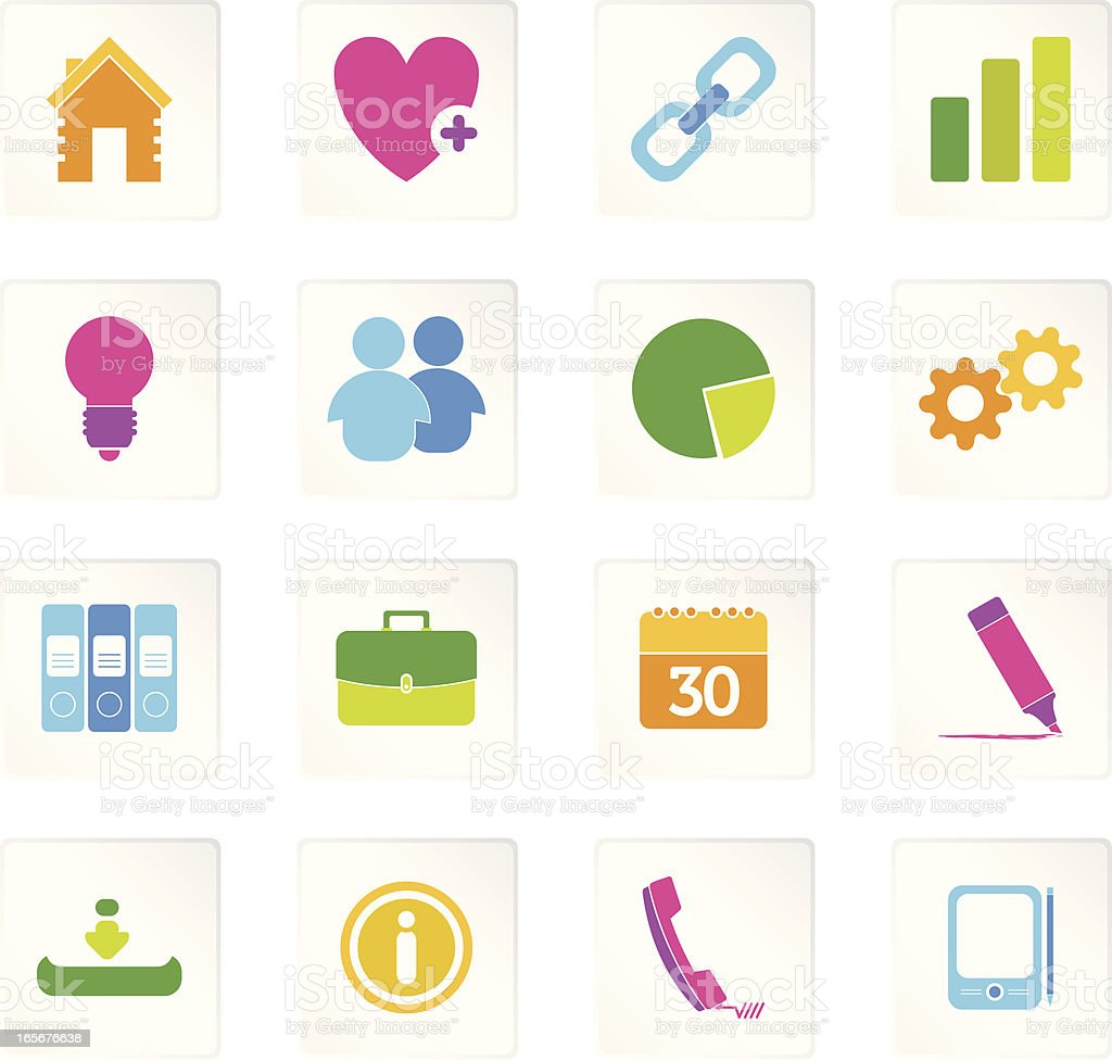Colorful Business & Office Icons royalty-free stock vector art