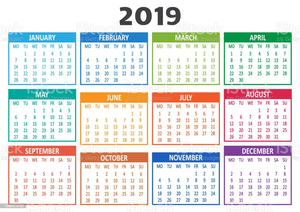 Colorful Calendar 2019 Week Starts From Monday ...