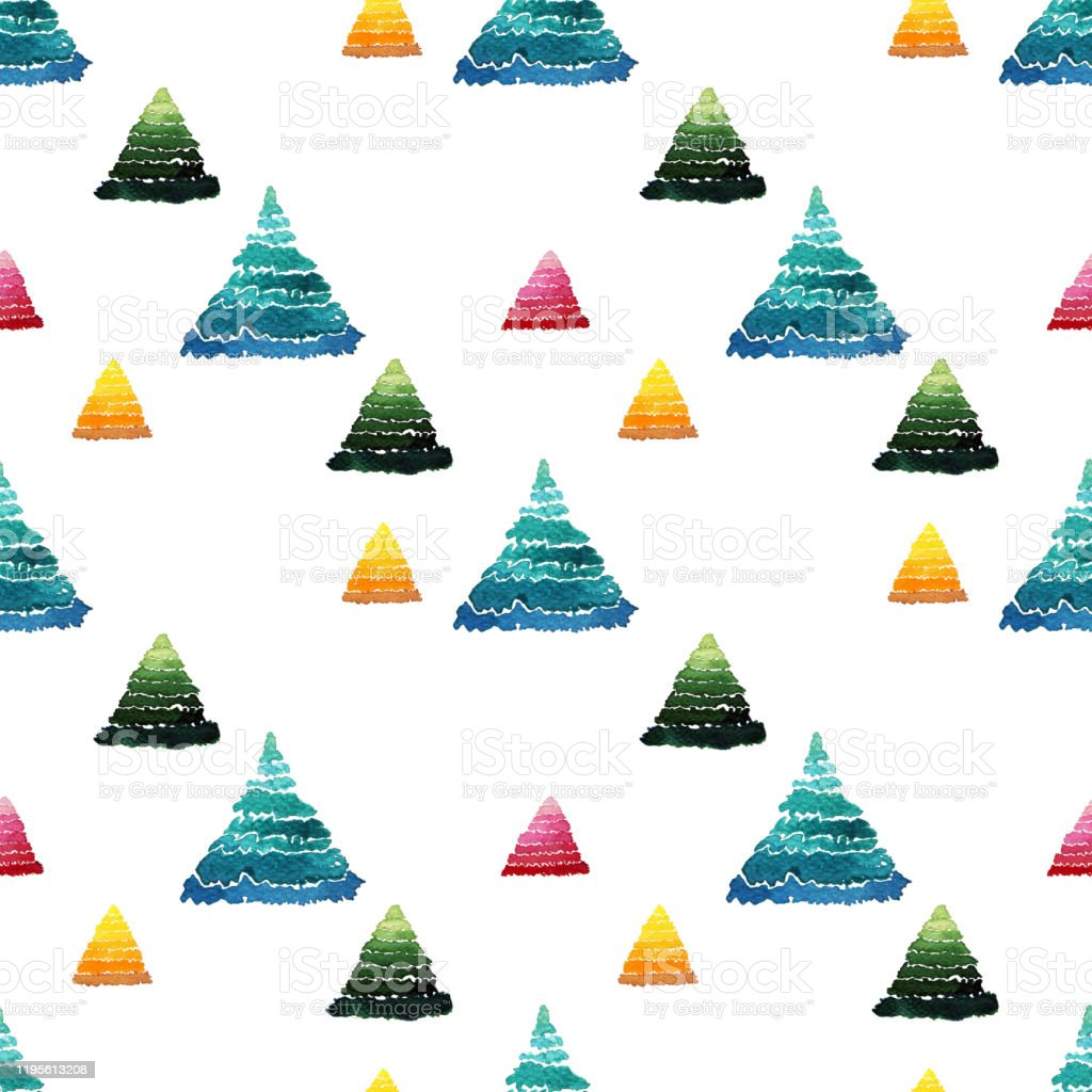 Colorful Christmas Trees Watercolor Painting In Seamless Pattern Using Green Blue Red Yellow Orange Stock Illustration Download Image Now Istock