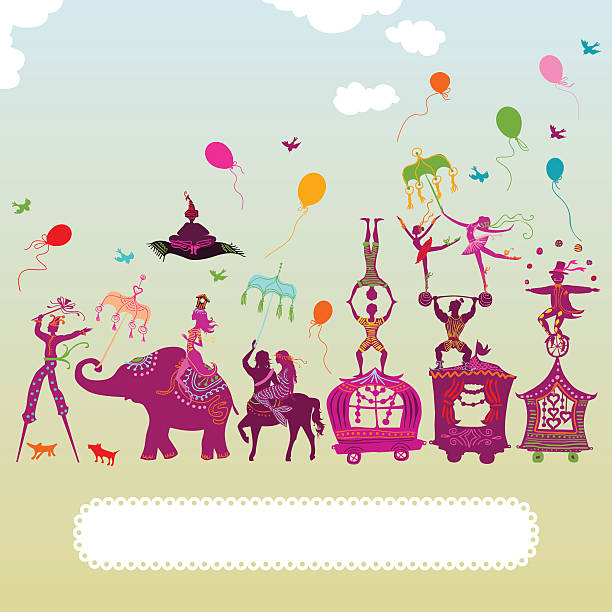 colorful circus carnival vector art illustration