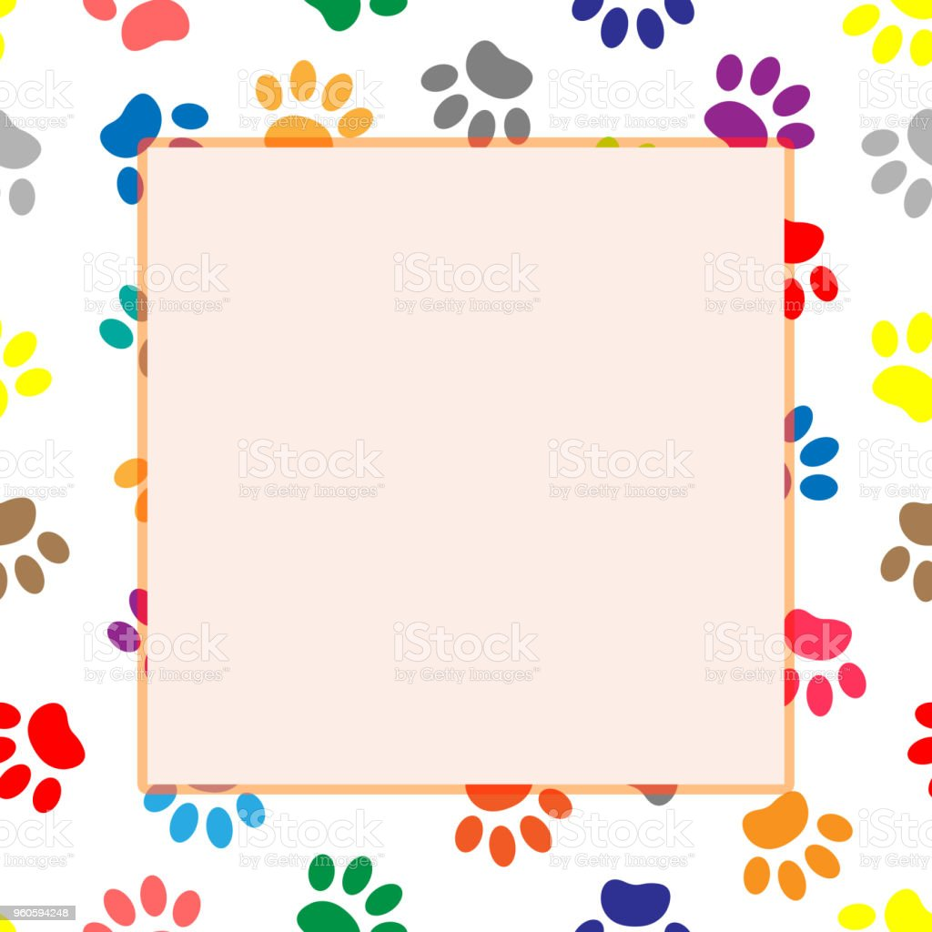Colorful Dog Or Cat Paw Prints Frame Stock Vector Art More Images