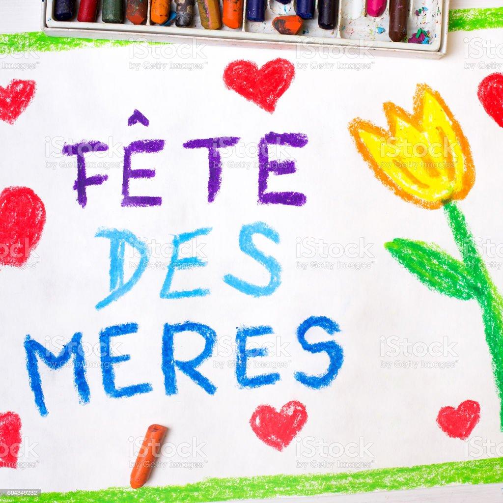 Kleurrijke Tekening Franse Moederdag Dag Kaart Met Woorden Moederdag