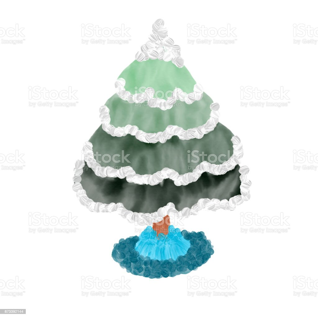 Colorful Drawn Bright Abstract Green Christmas Tree With Snow For