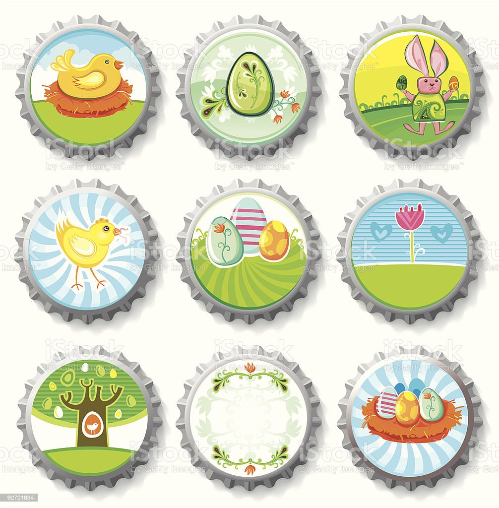Colorful Easter Bottle caps royalty-free stock vector art