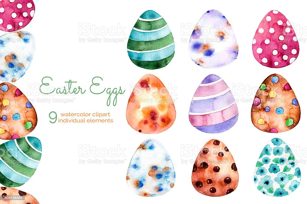 colorful easter eggs clipart on white bqckground9 hand painted illustration id504135364