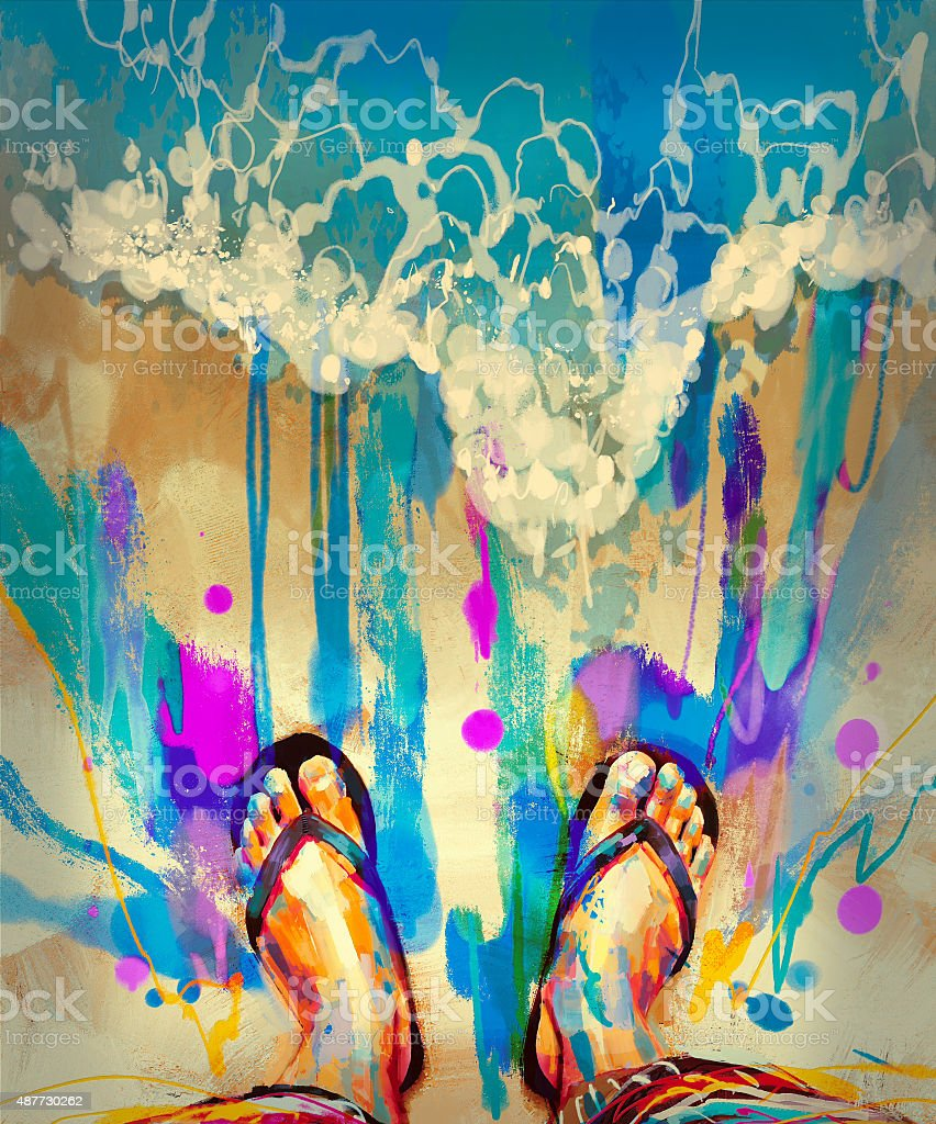 colorful feet with flip-flops on sandy beach vector art illustration