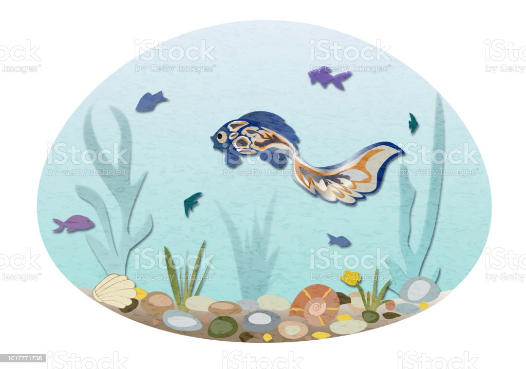 Colorful fish swimming in sea, seabed with shells and stones. vector art illustration