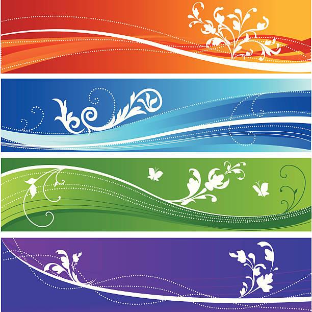 Colorful floral design banners vector art illustration