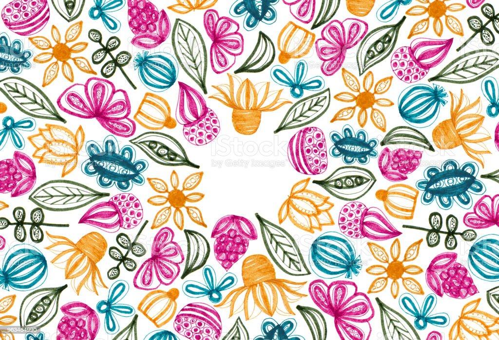 Elle çizilmiş elemanları ile renkli çerçeve çiçek - Royalty-free Arka planlar Stock Illustration