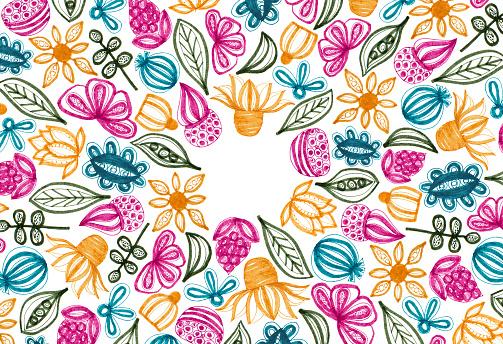 Elle Çizilmiş Elemanları Ile Renkli Çerçeve Çiçek Stok Vektör Sanatı & Arka planlar'nin Daha Fazla Görseli