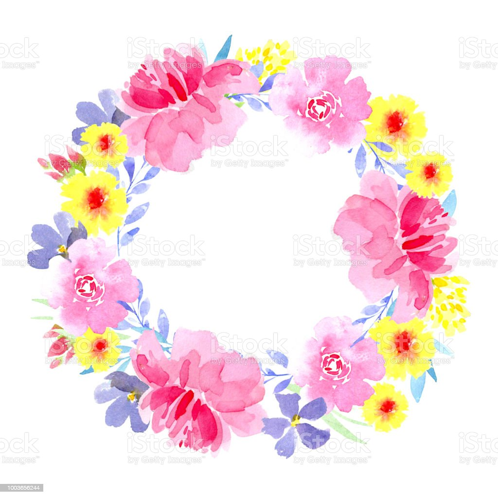 Couronne De Floral Coloré Avec Feuilles Et Fleurs Dessin Aquarelle