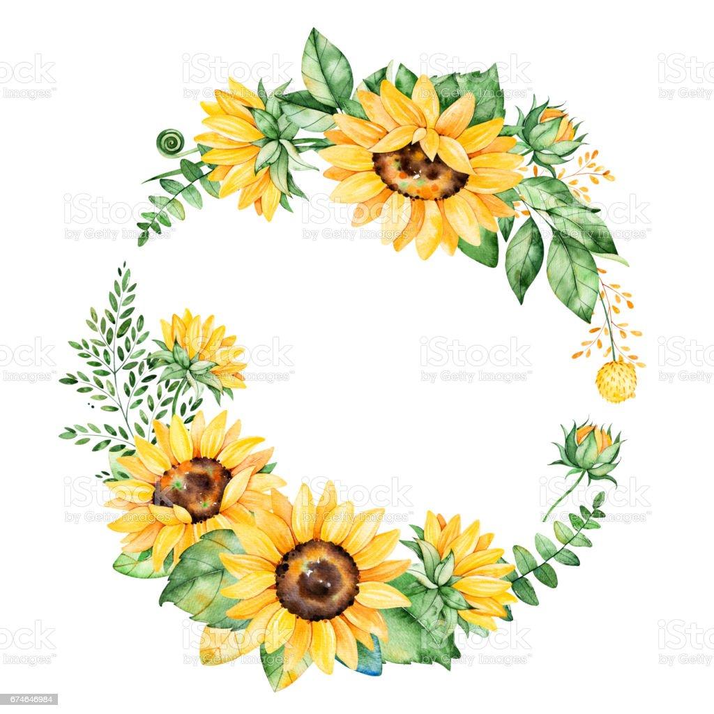ひまわりとカラフルな花の花輪 ロイヤリティフリーひまわりとカラフルな花の花輪 - ヒマワリのベクターアート素材や画像を多数ご用意