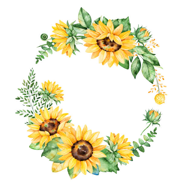 colorful floral wreath with sunflowers - sunflower stock illustrations