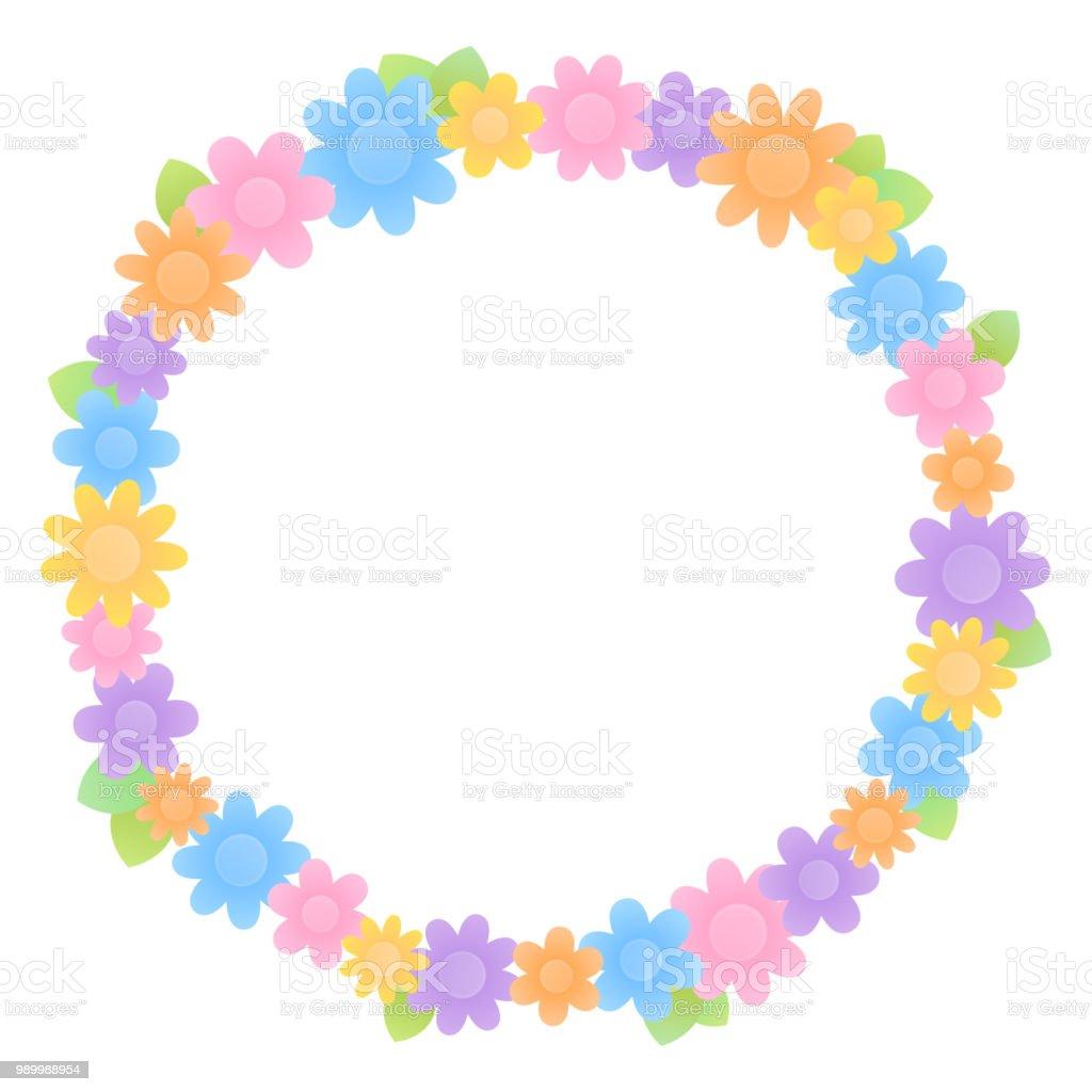 Colorful flower circular frame vector art illustration