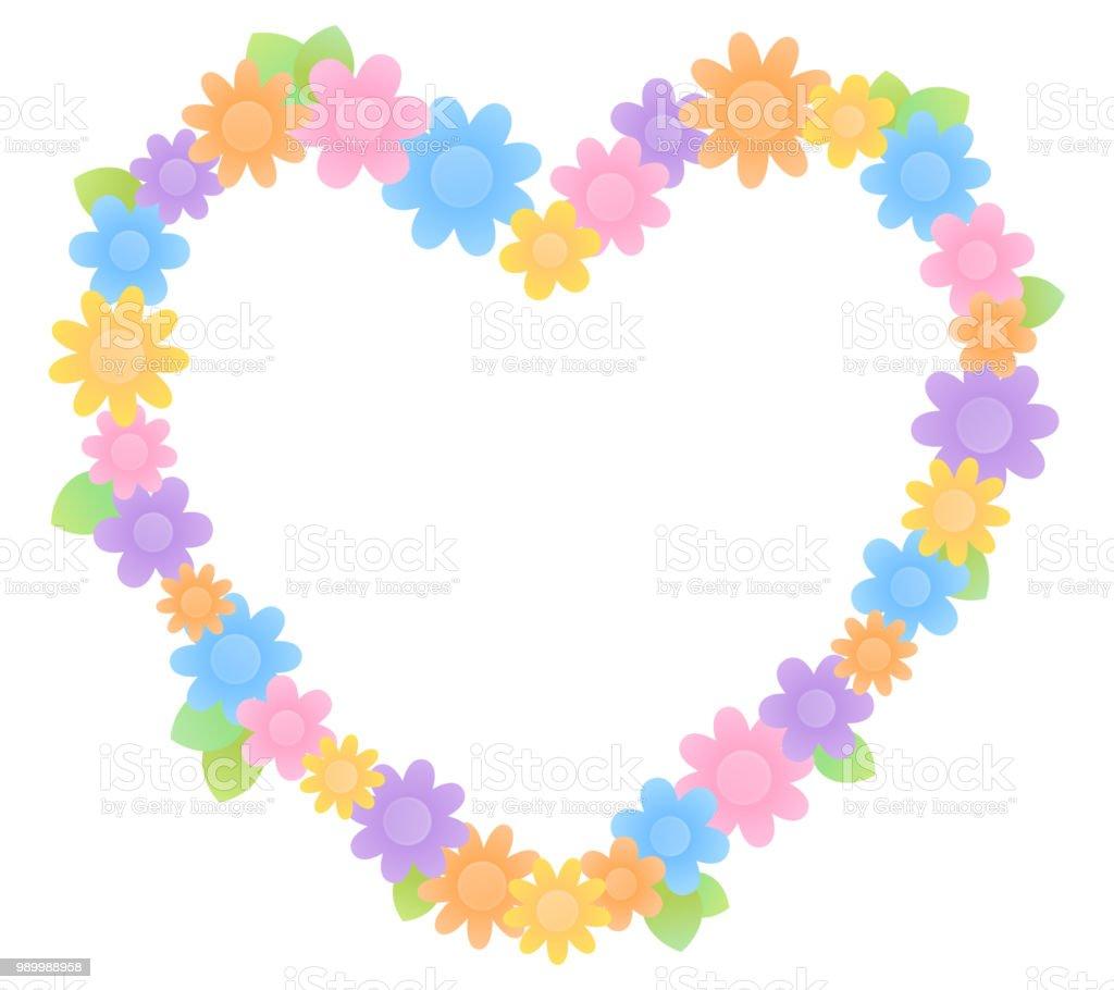 Colorful flower heart shaped frame vector art illustration