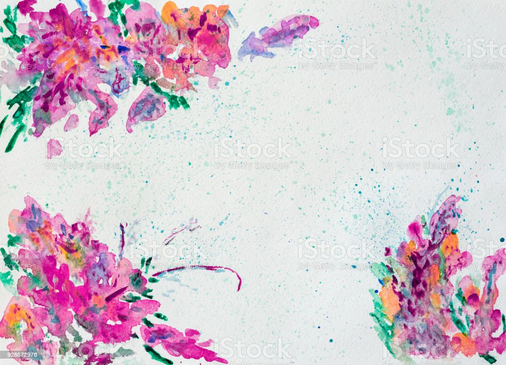 Colorful Flowers Border For Text Or Banner Formed By Hand Painted With Bright Blots
