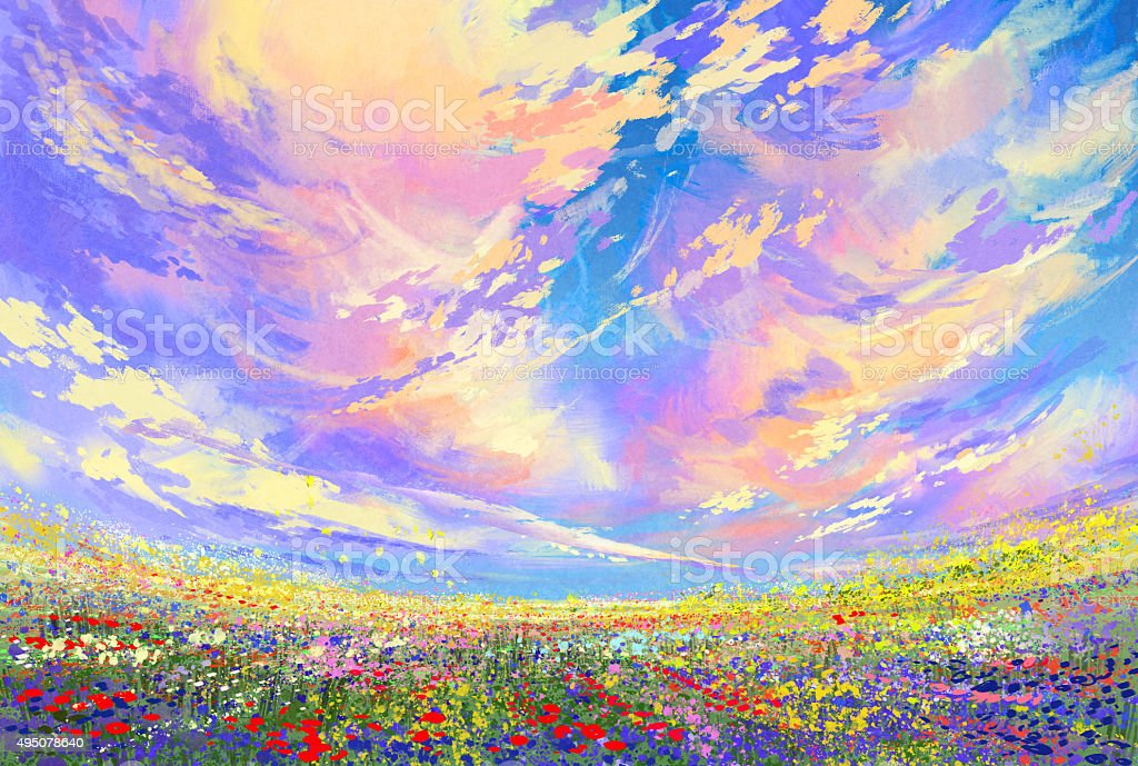 colorful flowers in field under beautiful clouds vector art illustration
