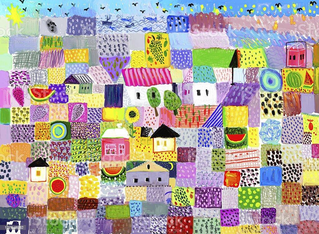 Colorful folk art depiction of a village vector art illustration