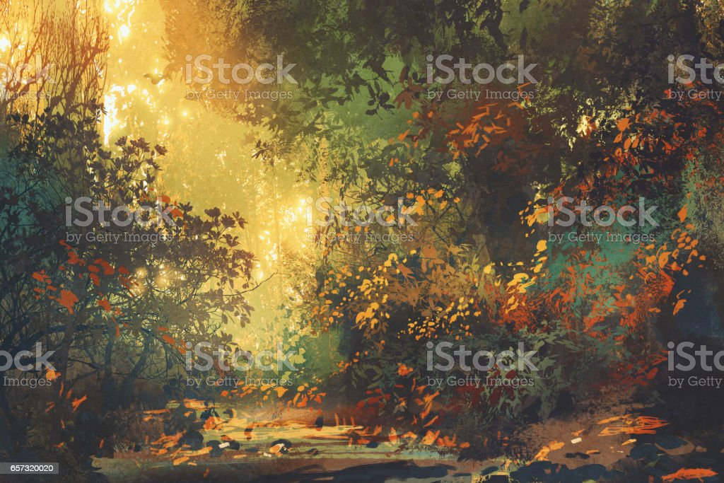 colorful forest with trees and flowers in spring at sunset vector art illustration