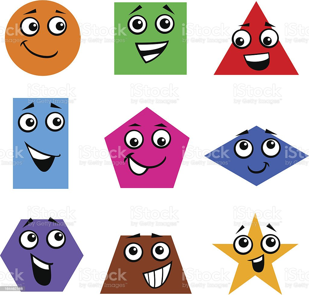 Colorful geometric shapes with cartoon faces royalty-free stock vector art