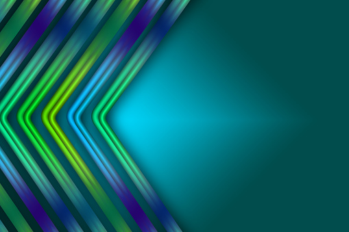 Colorful gradient decorative ribbons on blue shade background.
