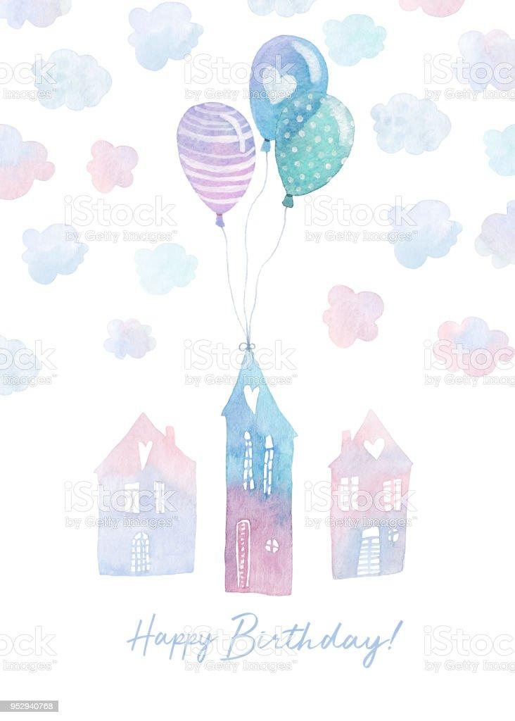 Doğum Günü Kartı Suluboya Houses Balonlar Ve Bulutlar Ile Renkli El