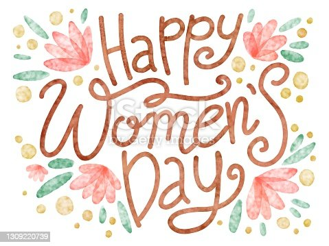 Colorful hand writing bouncing illustration bouncing lettering in cute flower background. Happy Women's Day. Can be used for postcard, greeting card, poster, banner, textile, print, backgrounds