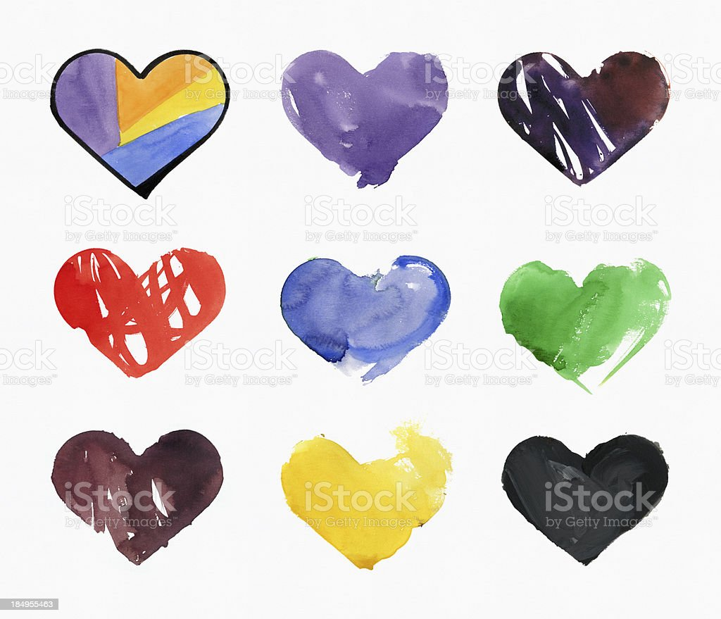 Colorful Hearts Watercolor on Paper royalty-free stock vector art