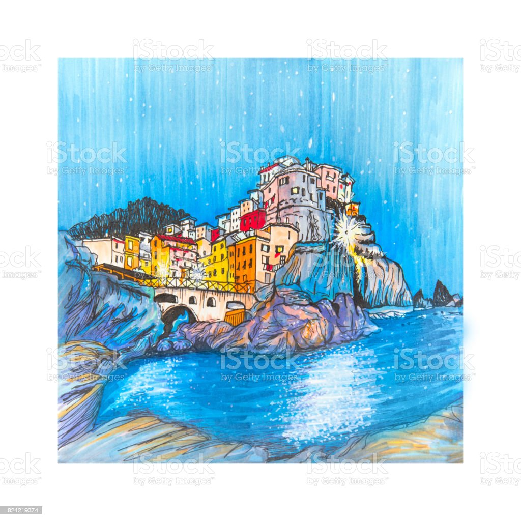 Colorful houses and sea in Manarola, Ligury, Italy vector art illustration