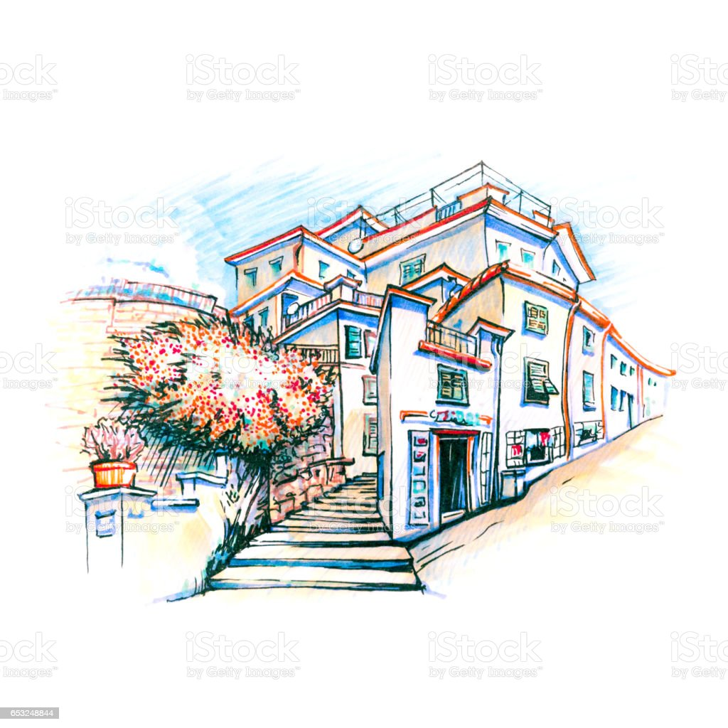 Colorful houses in Manarola, Ligury, Italy vector art illustration