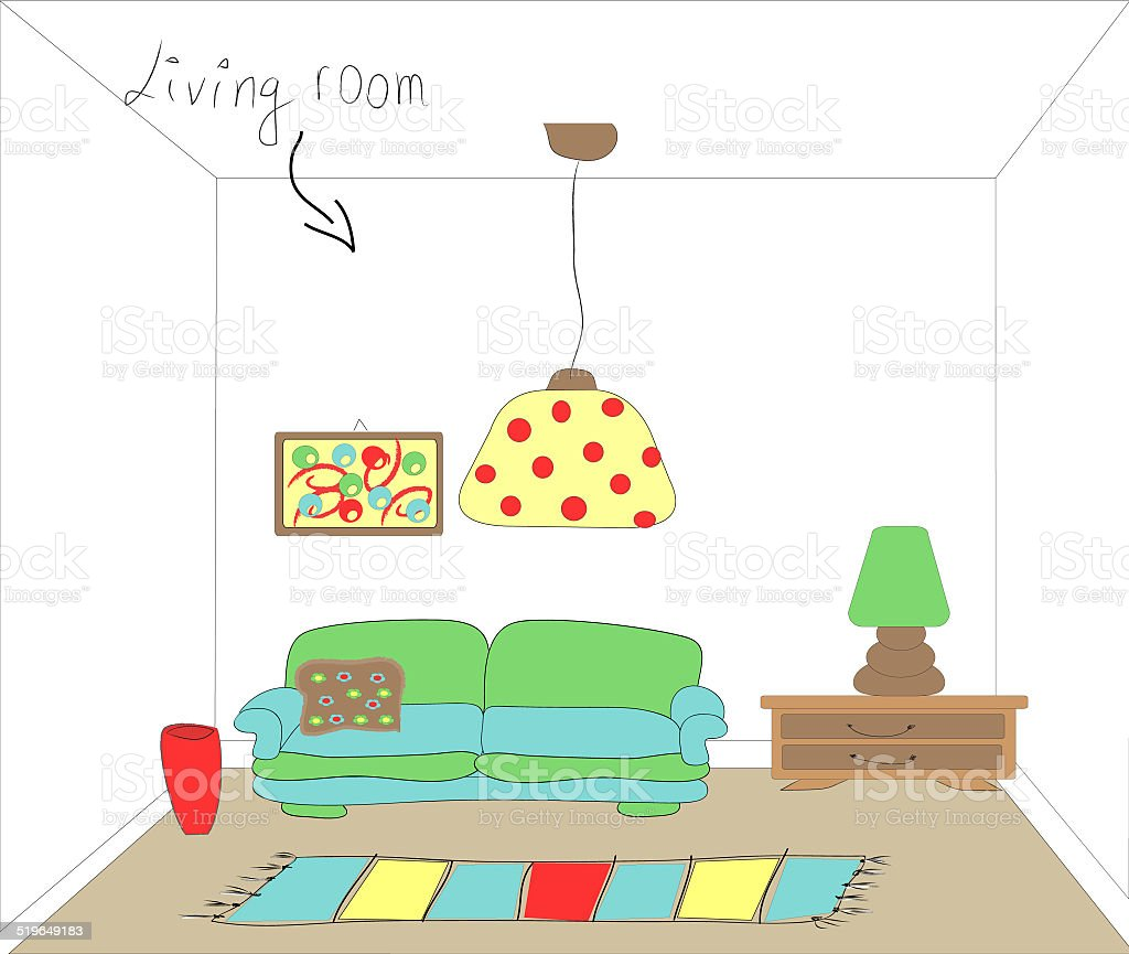 Colorful illustration of a retro living room interior design vector art illustration