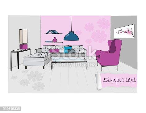 Colorful Illustration Of A Retro Living Room Interior Design Stock ...