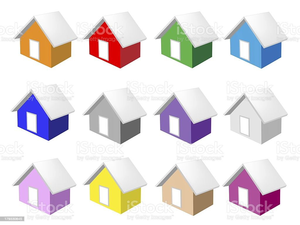 Colorful Illustration Set of Ten Houses Icon royalty-free stock vector art