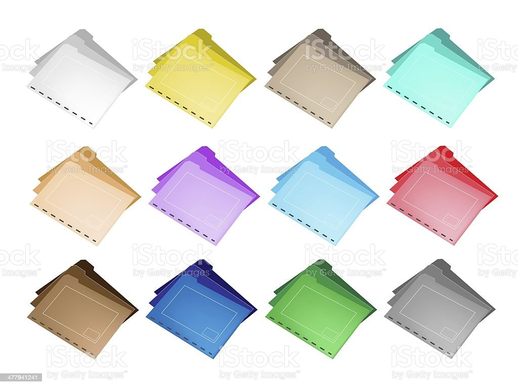 Colorful Illustration Set of The Folder Icons royalty-free stock vector art