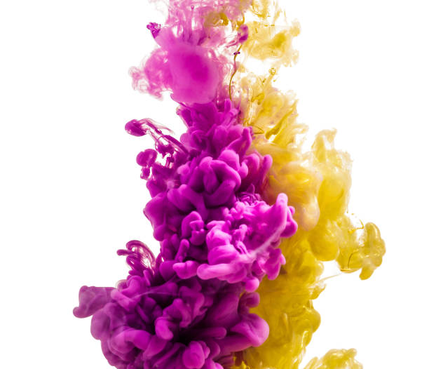colorful ink isolated on white background. pink yellow  drop swirling under water. Cloud of ink in water. colorful ink isolated on a white background. a pink yellow drop swirling under water. Cloud of ink in water. isolated color stock illustrations